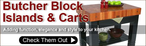 Butcher Block Carts, Islands and Worktables